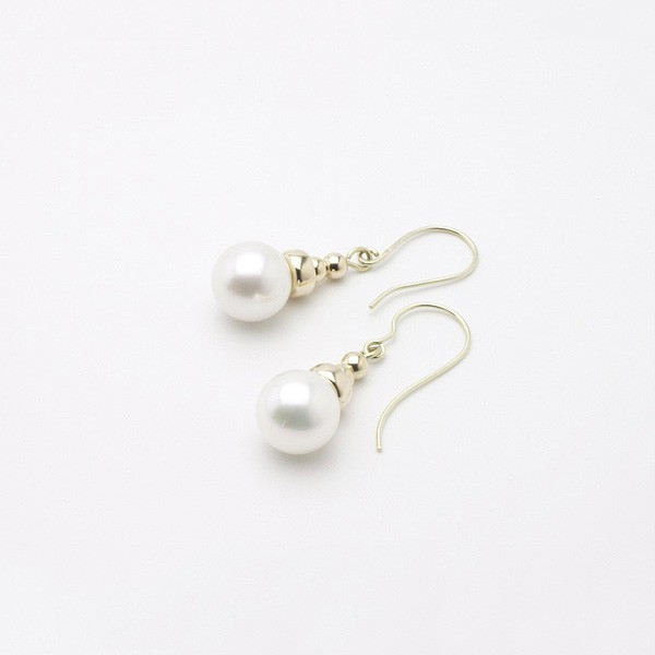 Large Freshwater Pearl Hook Earrings 8-8.5mm On 14K Yellow Gold