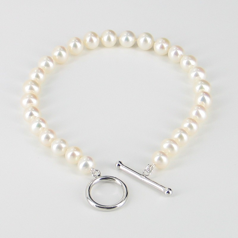 White Freshwater Pearl Bracelet, 6.5-7mm Pearls With Sterling Silver