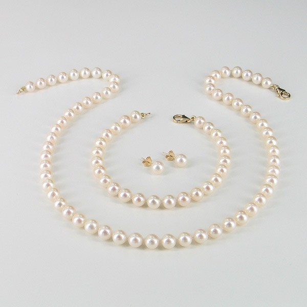 Classic Princess Pearl Necklace Set, 6.5-7mm Pearls 14K Yellow Gold