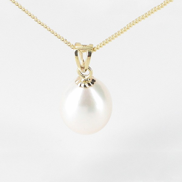 White Drop AAA Pearl Pendant Necklace 8-8.5mm On 9K Yellow Gold