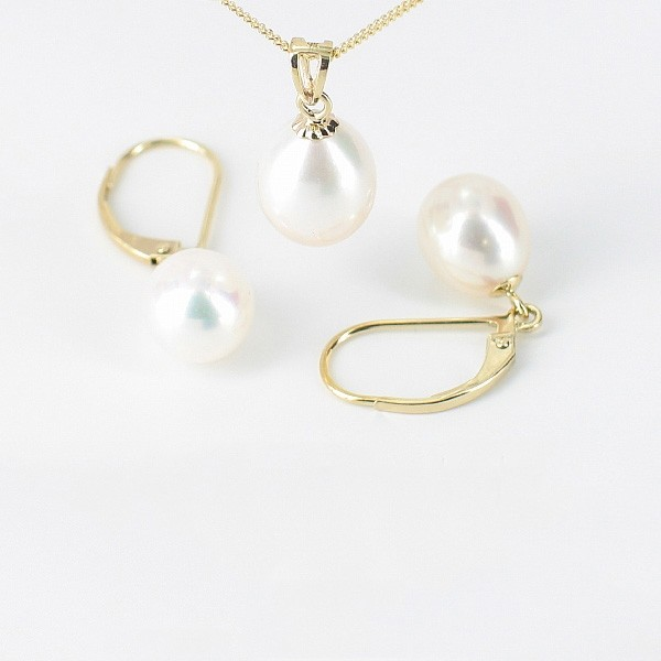 White AAA 8-8.5mm Drop Pearl Pendant Necklace & Earrings Set 9K Yellow Gold
