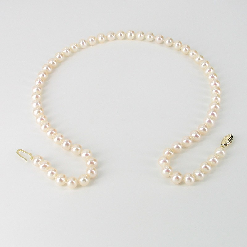 Cream Freshwater Pearl Necklace 6.5-7mm With 9K Yellow Gold