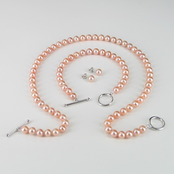 Pink Pearl Necklace Set 6.5-7mm With Sterling Silver