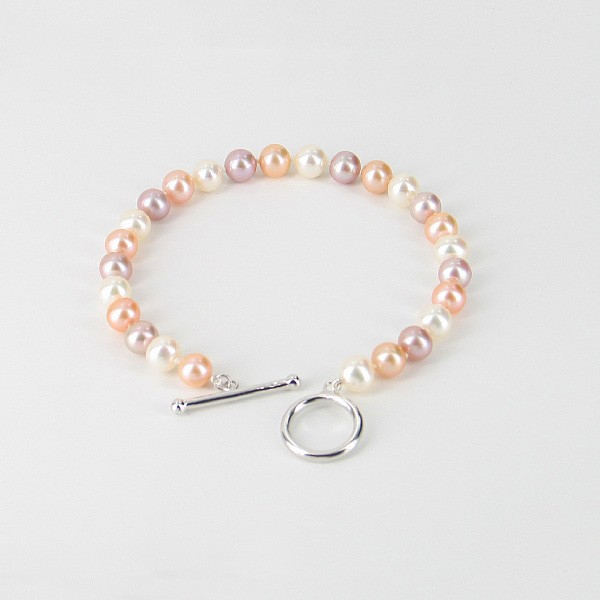 Multi Colour 6.5-7mm Pearl Bracelet With Sterling Silver