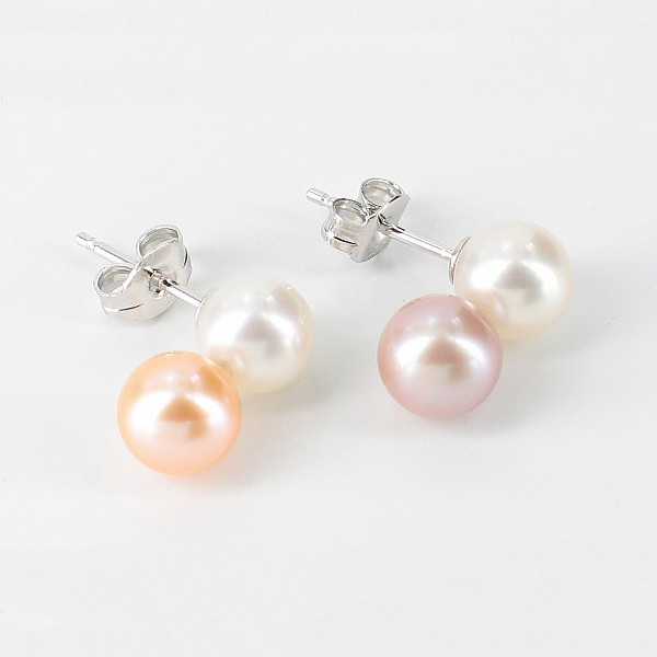 Multi Coloured Double Pearl Stud Earrings 6.5-7mm On Sterling Silver
