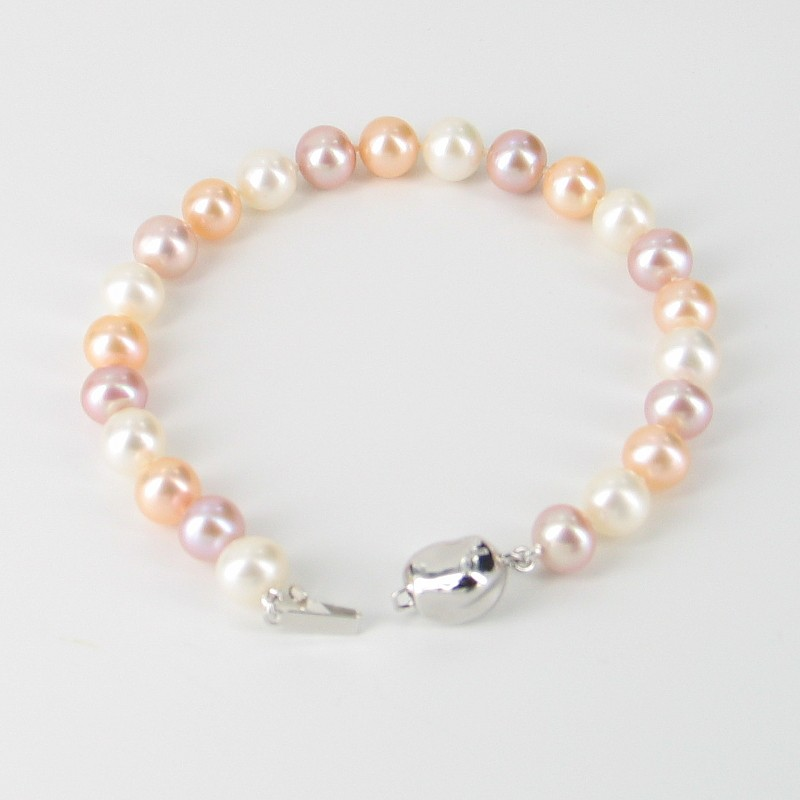Multi Colour Near Round Pearl Bracelet With Sterling Silver