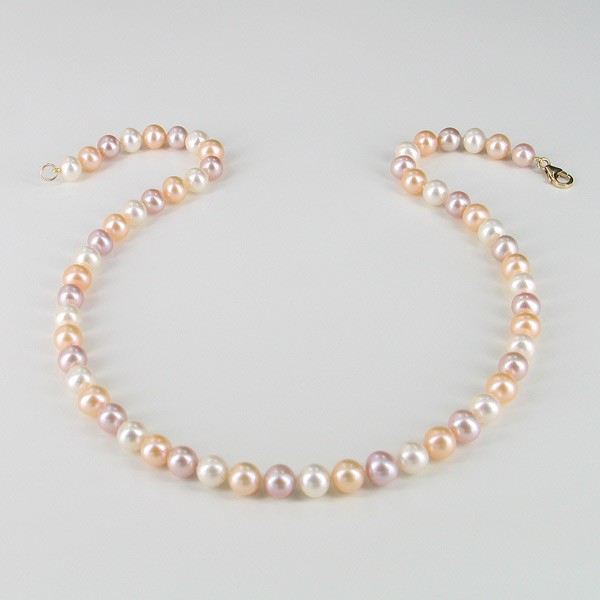 Multicolour Pearl Necklace 7.5-8mm With 14K Yellow Gold