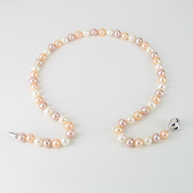MultiColoured Pearl Necklace 7.5-8mm With Sterling Silver