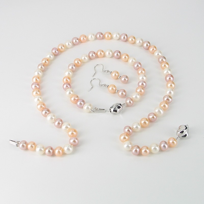 White, Pink & Lilac Freshwater Pearl Set 7.5-8mm With Sterling Silver