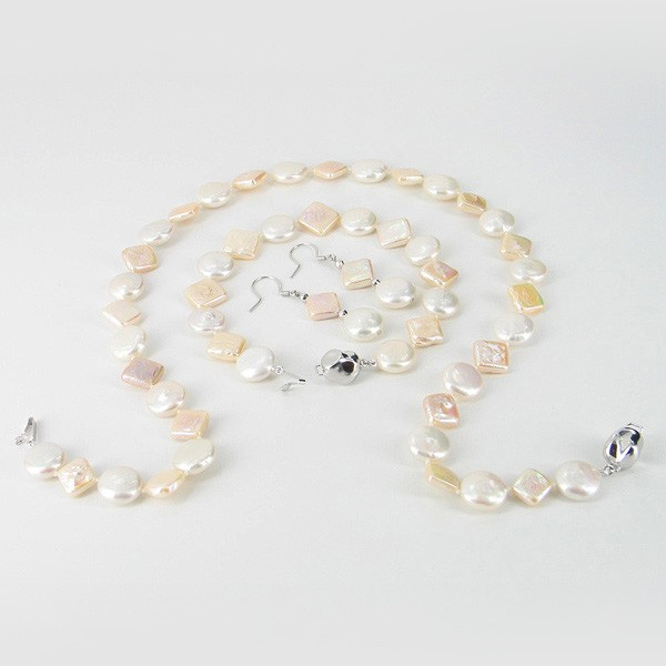 White & Peach Pearl Necklace Set Coin & Square With Sterling Silver