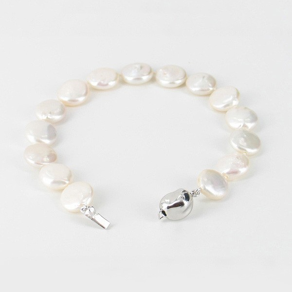 Freshwater Coin Pearl Bracelet 11-11.5mm With Sterling Silver