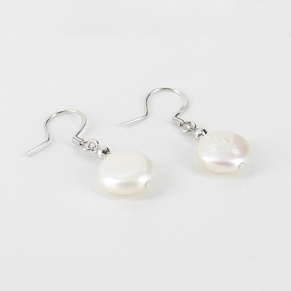 Freshwater Coin Pearl Hook Earrings 11-11.5mm On Sterling Silver