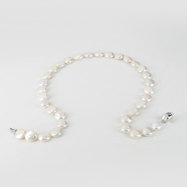Freshwater Coin Pearl Necklace 11-11.5mm With Sterling Silver