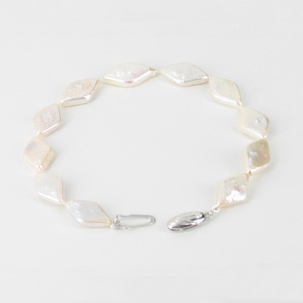 Freshwater Rhombus Shape Pearl Bracelet 9.5x15mm With Sterling Silver
