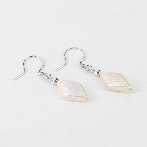 Rhombus Shape Pearl Hook Earrings 9.5 x 15mm On Sterling Silver