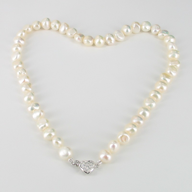 Baroque Pearl Necklace 8-9mm With A Sterling Silver & Cubic Zirconia Heart Clasp