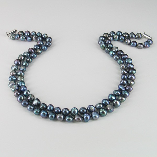 Double Strand Black Baroque Pearl Necklace On Sterling Silver