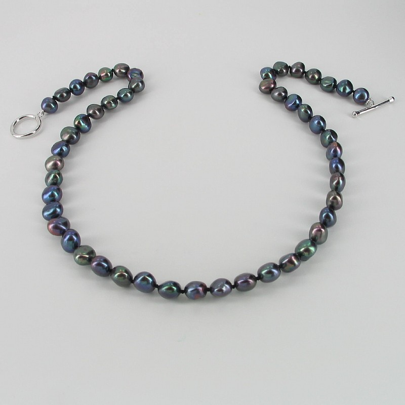 Black Baroque 8-9mm Pearl Necklace With Sterling Silver