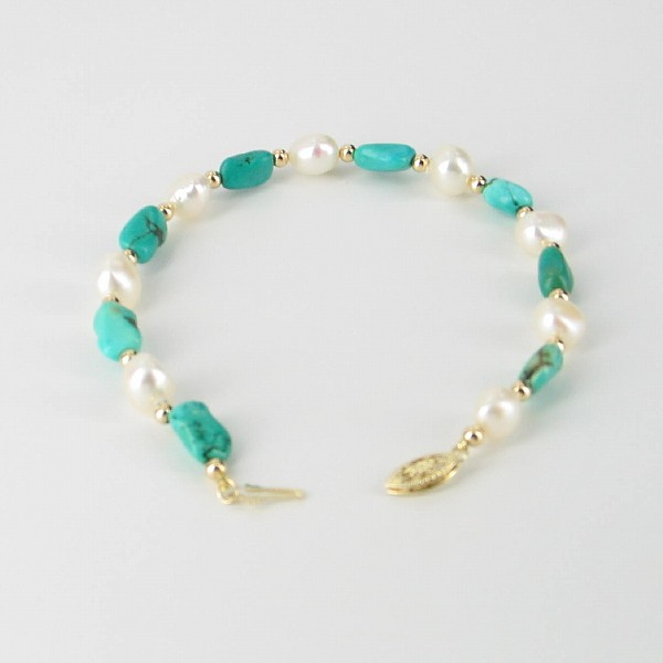 White Pearl & Turquoise Baroque Bracelet With 14K Yellow Gold