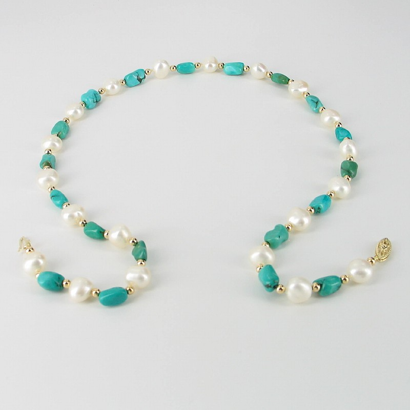 White Baroque Pearl & Turquoise 8-9mm Necklace, 14K Yellow Gold Clasp