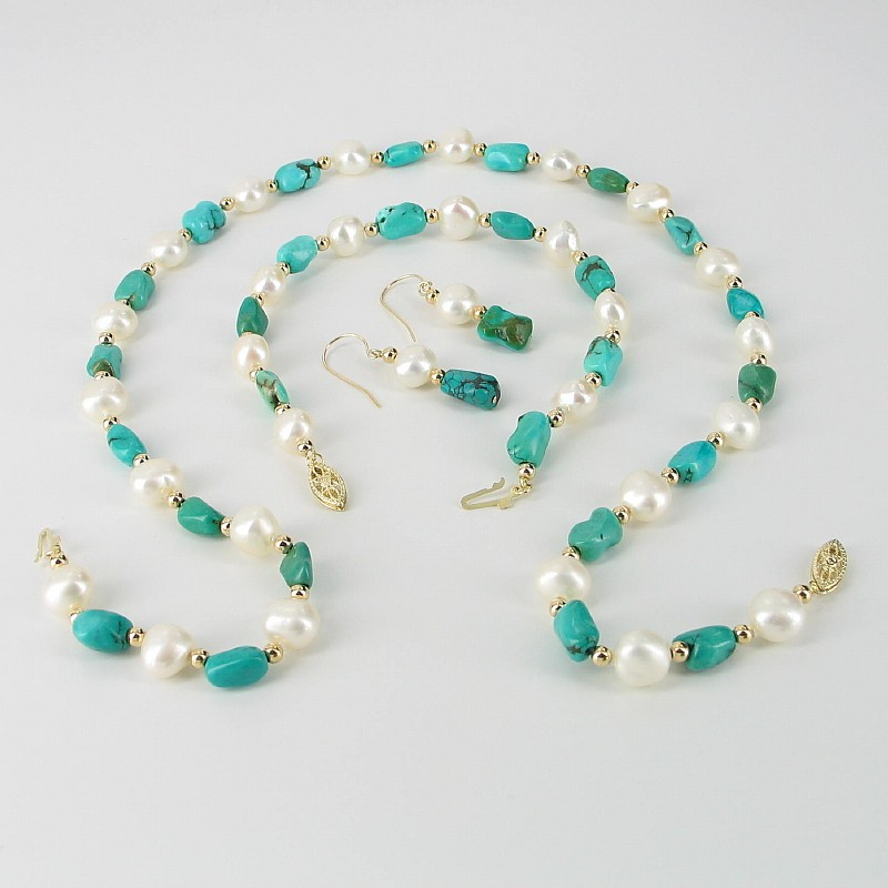 White Baroque 8-9mm Pearl & Turquoise Triple Set With 14K Yellow Gold