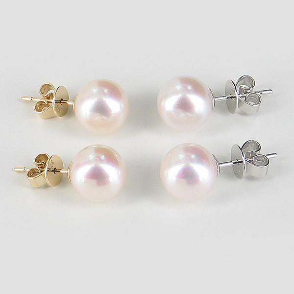 Large Freshwater Pearl Stud Earrings 8.5-9mm AAA On 9K Yellow Gold