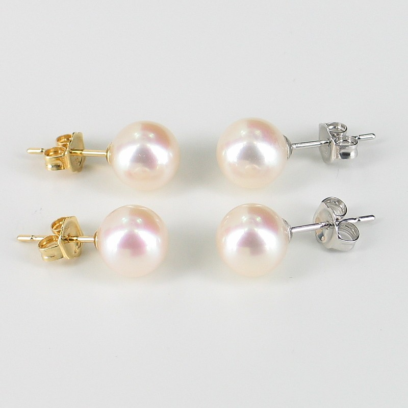 White 7.5-8mm AAA Pearl Stud Earrings On 18K Yellow Gold