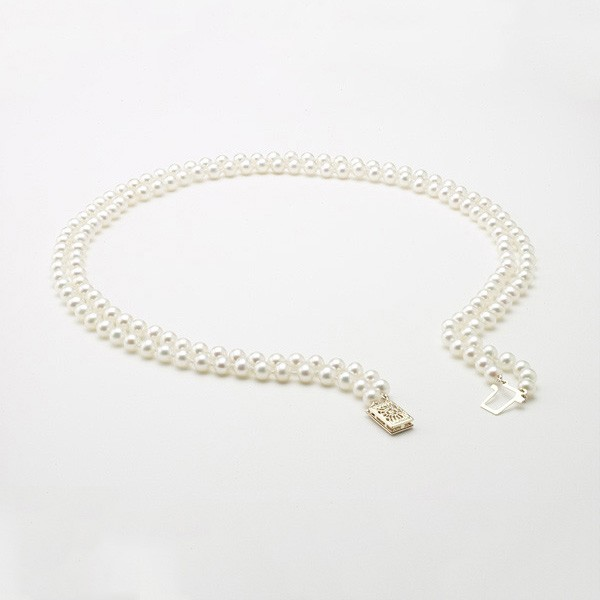 White Double Strand Pearl Necklace 5-5.5mm With 14K Yellow Gold