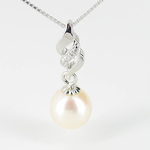 White Pearl Pendant Necklace AAA 7.5-8mm On Sterling Silver