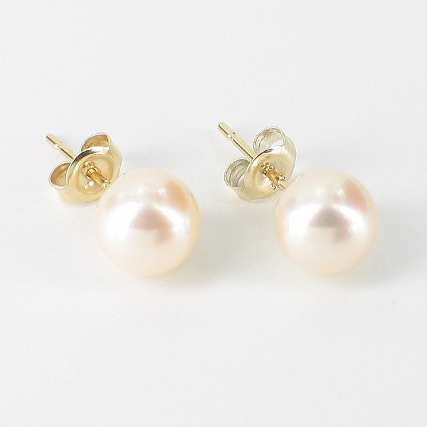 Cream Stud Pearl Earrings 7.5-8mm On 9K Yellow Gold