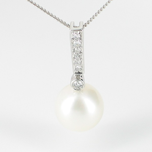Large White Pearl & Diamond Pendant Necklace 8.5-9mm 9K White Gold