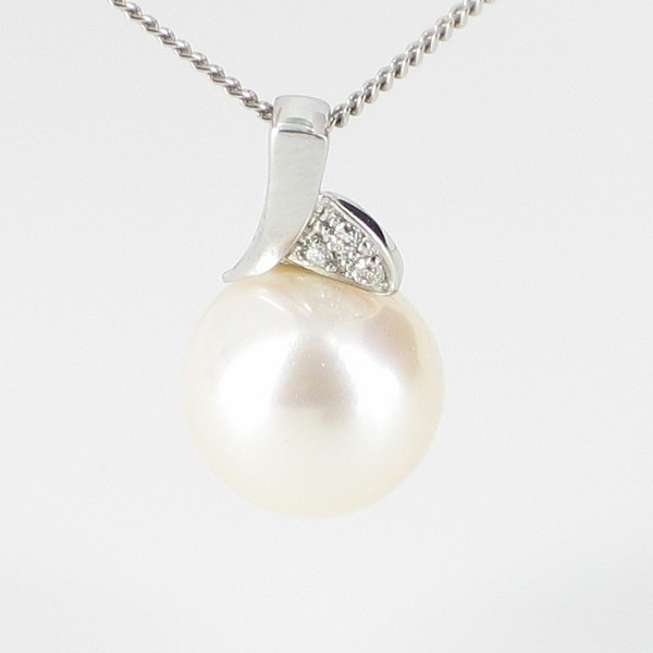 Large 8.5-9mm Pearl & Diamond Pendant Necklace On 9K White Gold