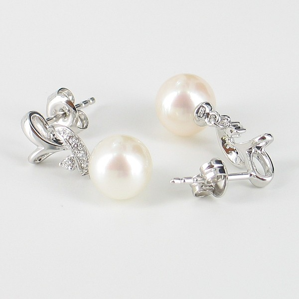 White Pearl & Cubic Zirconia Earrings 7.5-8mm With Sterling Silver