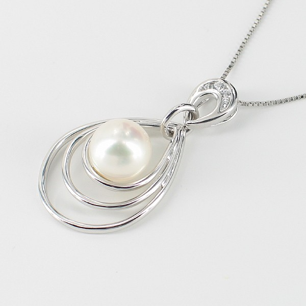White Pearl & Cubic Zirconia Pendant Necklace 8.5-9mm On Sterling Silver
