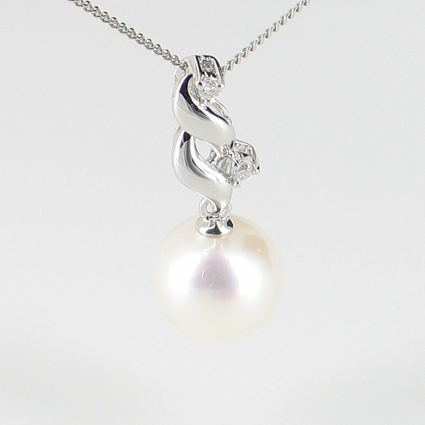 Large Pearl & Diamond Pendant Necklace 8.5-9mm On 9K White Gold