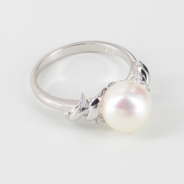 White Pearl & Diamond Ring Round Pearl 9K White Gold