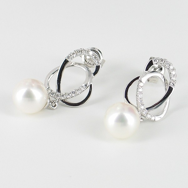 White Pearl & Diamond Earrings 8-8.5mm 9K White Gold