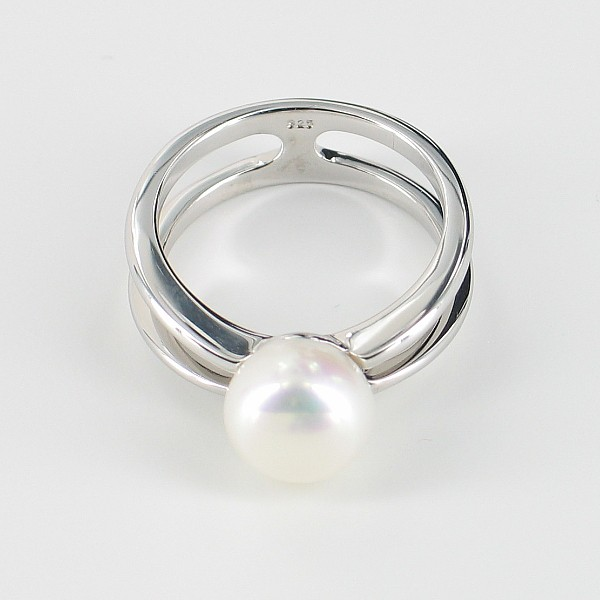 White Double Shank Button Pearl Ring On Sterling Silver