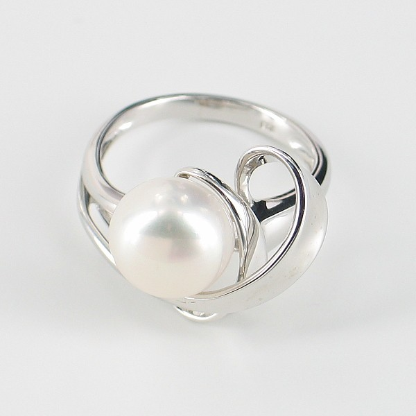White Silver Ribbon Button Pearl Ring On Sterling Silver