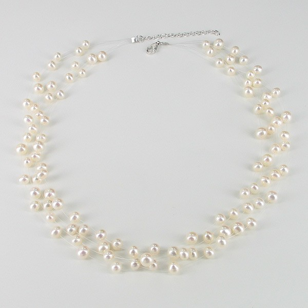White Illusion Pearl Necklace 5-6.5mm On Sterling  Silver