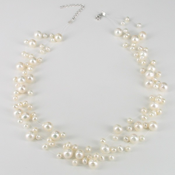 White Illusion Pearl Necklace With A Sterling Silver Lobster Clasp