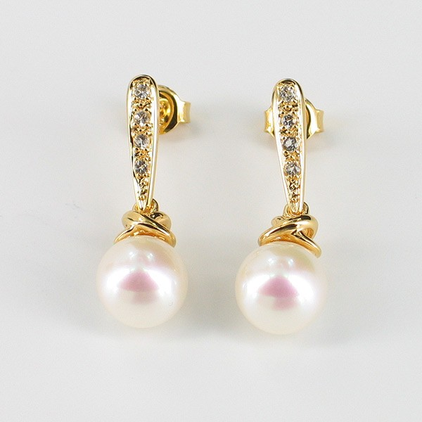 Large 8.5-9mm Pearl & Topaz Drop Earrings On 18K Gold Vermeil