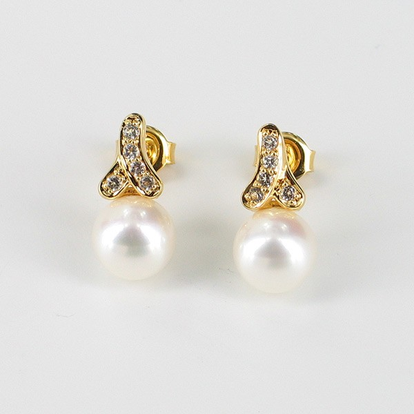 White Pearl & Topaz Drop Earrings 7.5-8mm With 9K Yellow Gold
