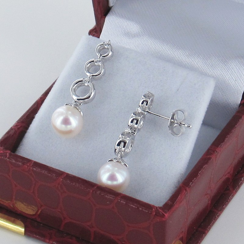 Pearl Earrings On Sterling Silver With Cubic Zirconia 7-7.5mm Pearls