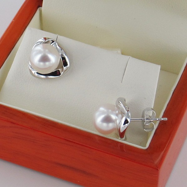 9K White Gold Pearl Stud Earrings With 8-8.5mm Pearls