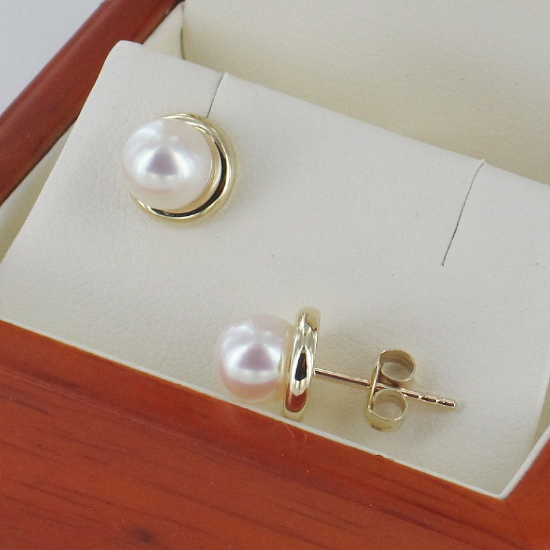 9K White Gold Pearl Stud Earrings With 6.5-7mm Pearls