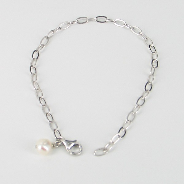 Sterling Silver Chain Bracelet With Baroque Pearl Charm