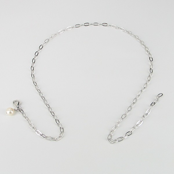 Sterling Silver Chain Necklace with A Baroque Pearl Charm