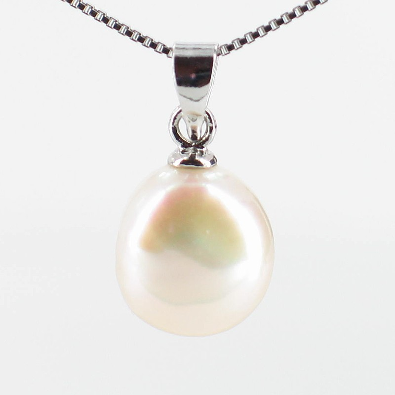 Cream Baroque Pearl Pendant 9-10mm On Sterling Silver