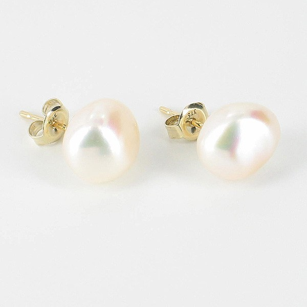 White Stud Baroque Pearl Earrings 9-10mm On 9K Yellow Gold